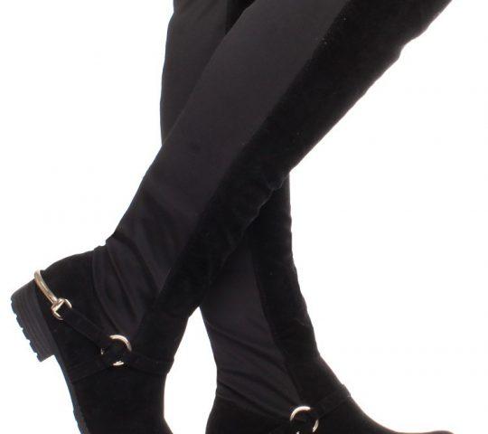 Čižmy nad kolená Black Suede Stirrup e8cd337d1a2