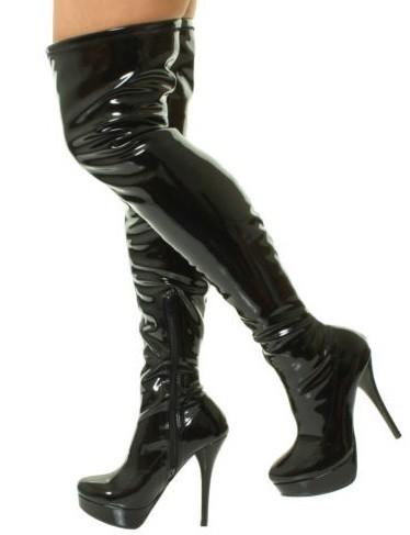1369861514 Vysoké čižmy nad kolená Black Shiny – Sissy Boutique