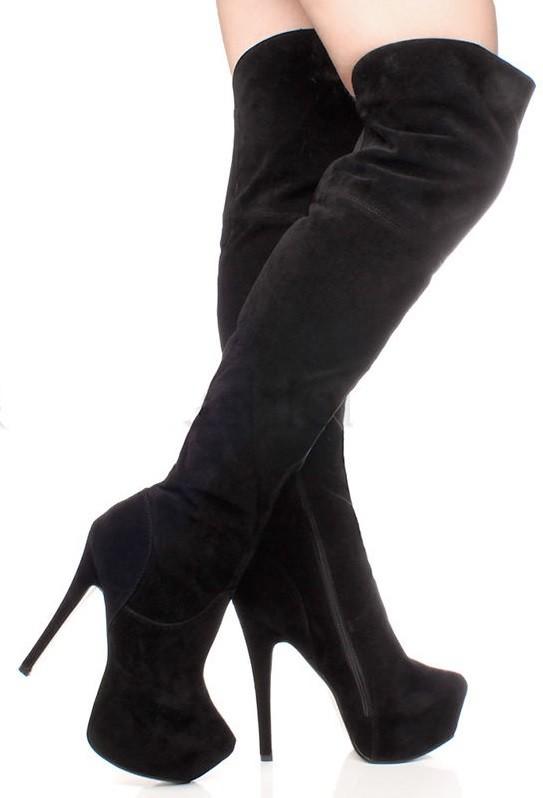 eb4fbdbb0b9ed Vysoké čižmy nad kolená Black Suede – Sissy Boutique