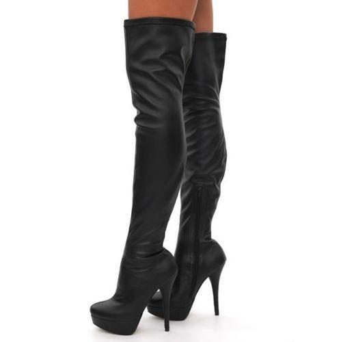 Čižmy nad kolená Slim Black – Sissy Boutique e993e866c45