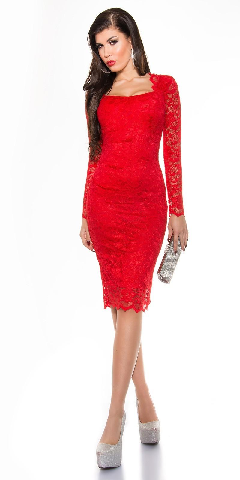 Čipkované šaty s dlhým rukávom Red – Sissy Boutique ab2ab7ebe67