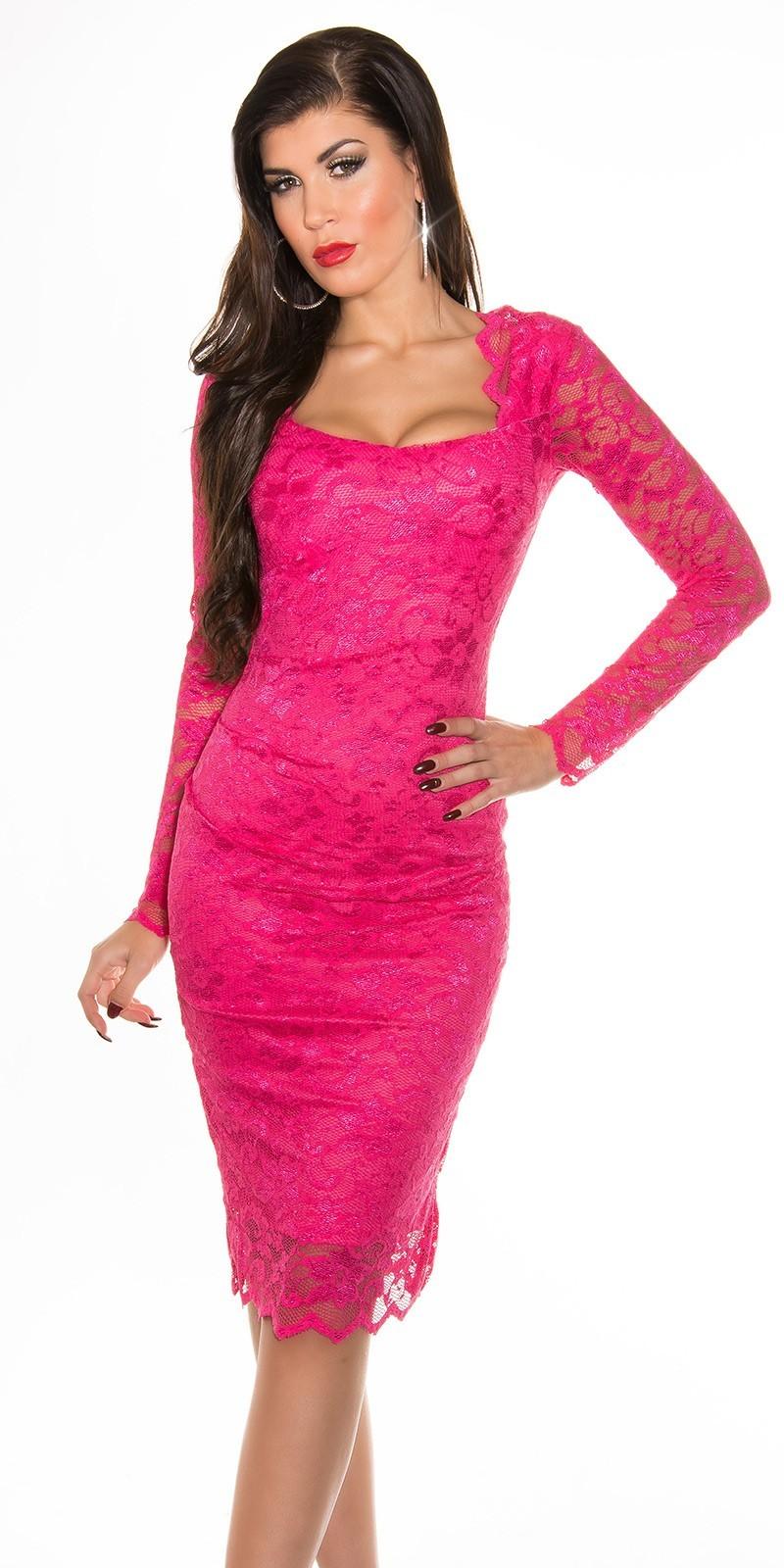 b69de8ae6c Čipkované šaty s dlhým rukávom Fuchsia – Sissy Boutique