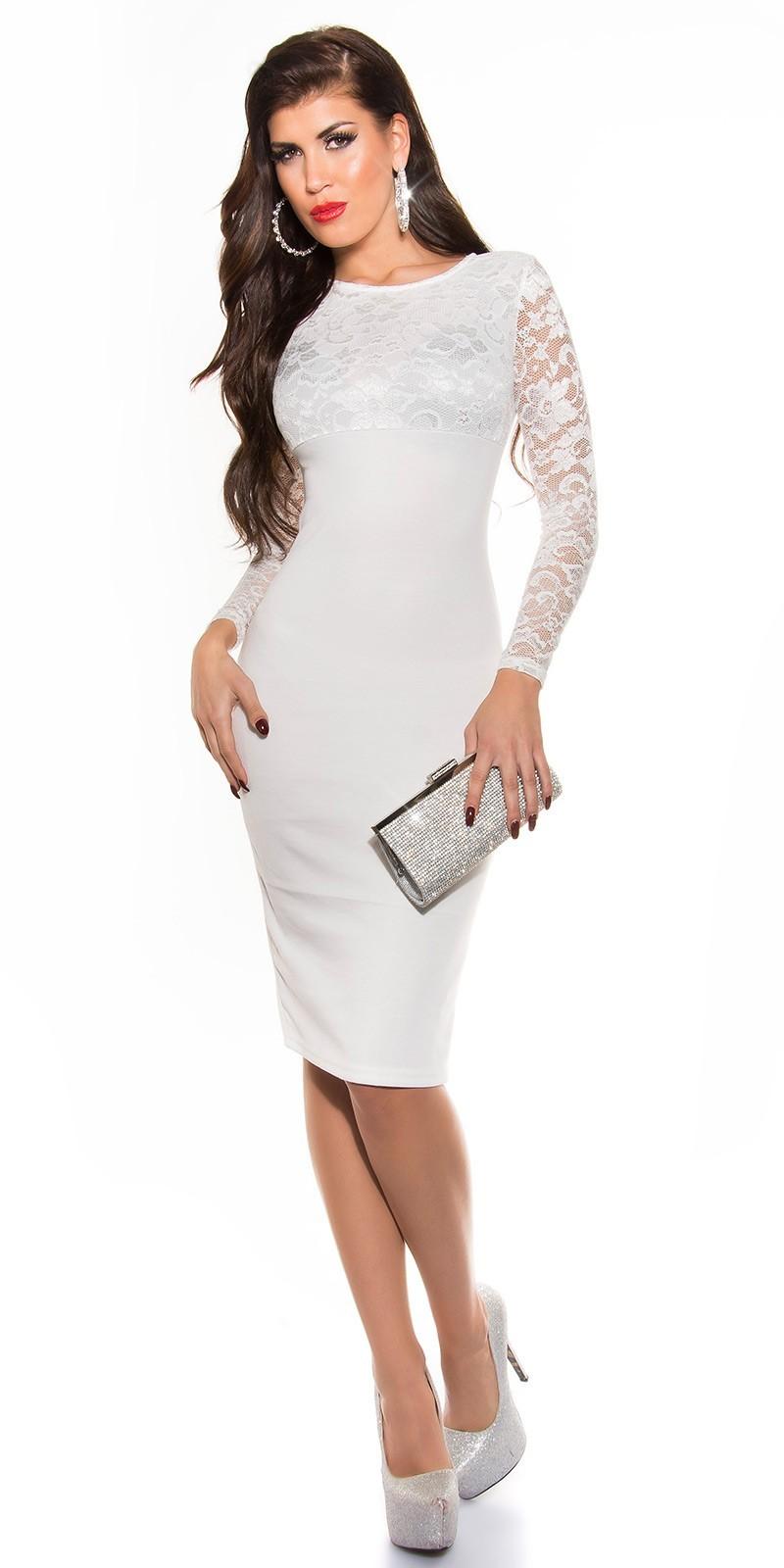 2be6b6e377f2 Šaty po kolená s čipkou White – Sissy Boutique