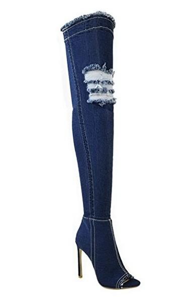 Riflové čižmy nad kolená Blue veľ. 38 890b234c2b3