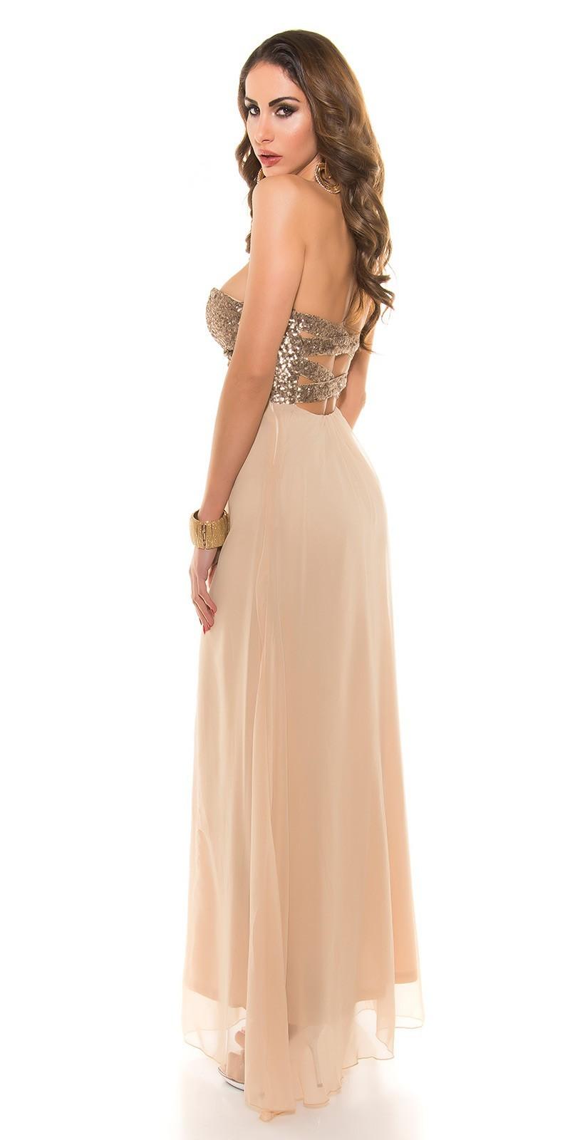 Spoločenské šaty s flitrami Beige – Sissy Boutique 851a87cc3f7