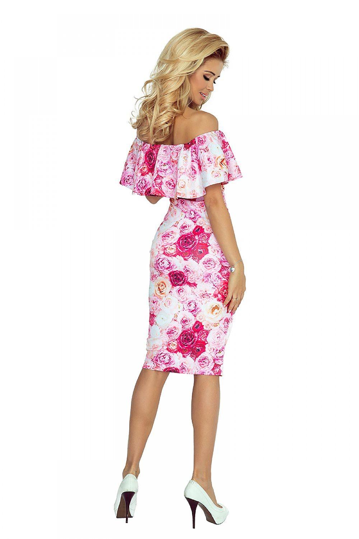 Spoločenské šaty s volánom Flower Pink – Sissy Boutique 34b37b4563d
