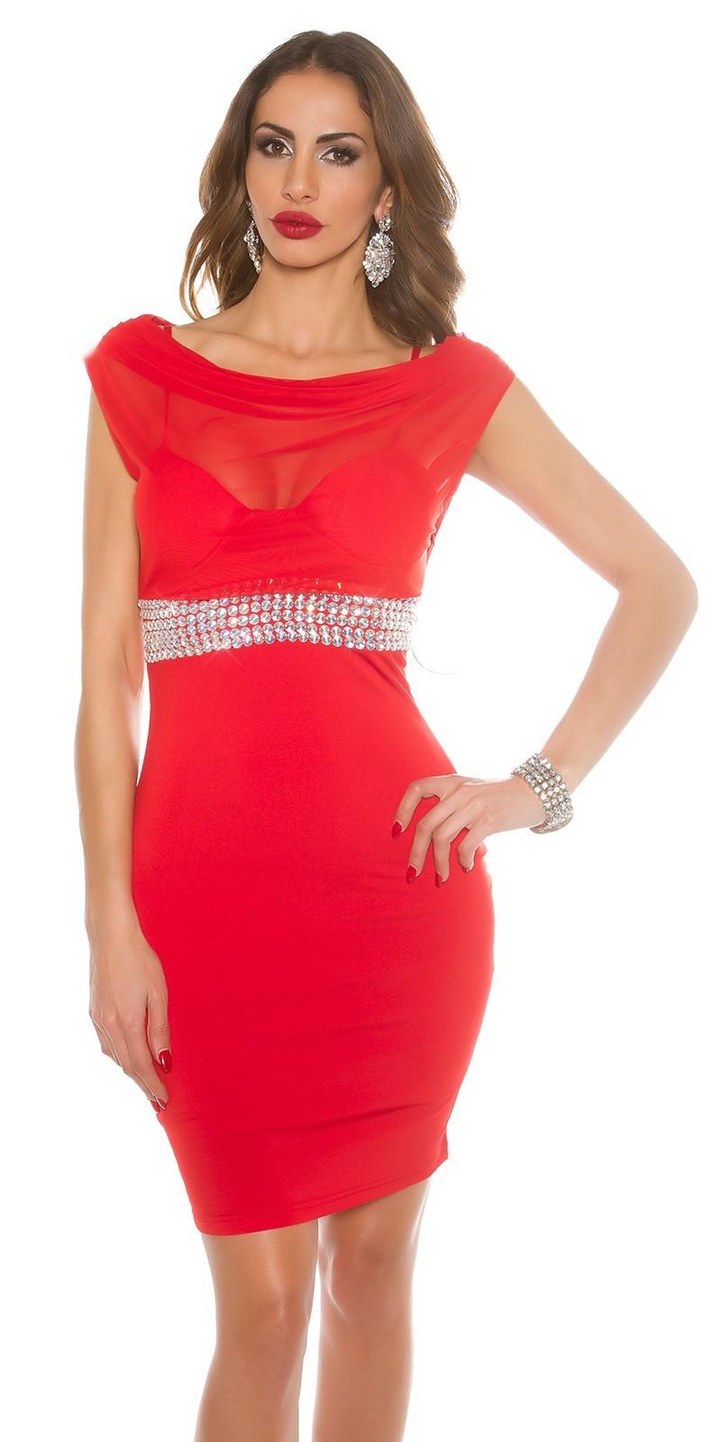 Krátke spoločenské šaty s kamienkami Red – Sissy Boutique 27b14f7609d
