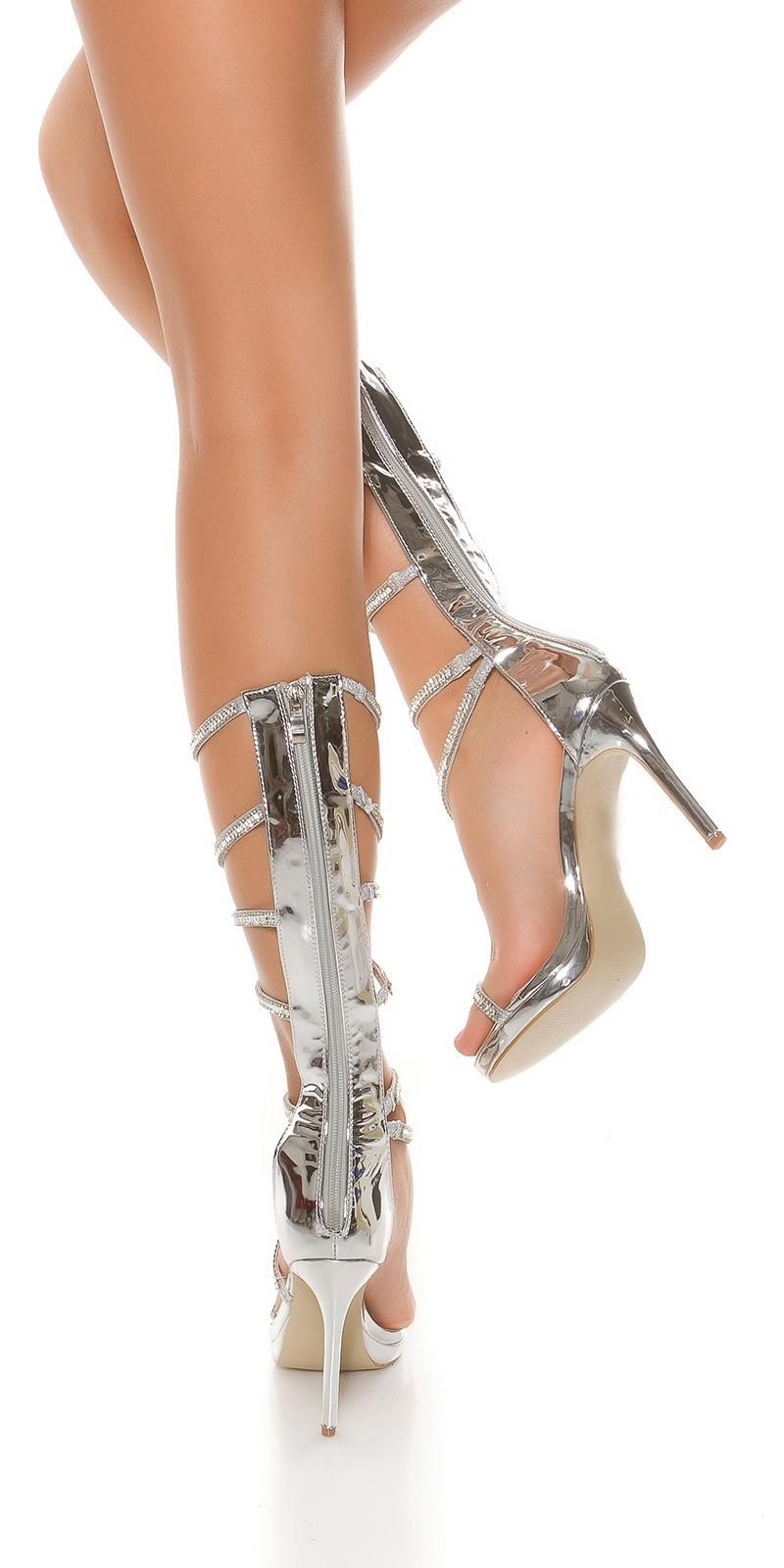 280021346648 Gladiátorky na podpätku Silver – Sissy Boutique