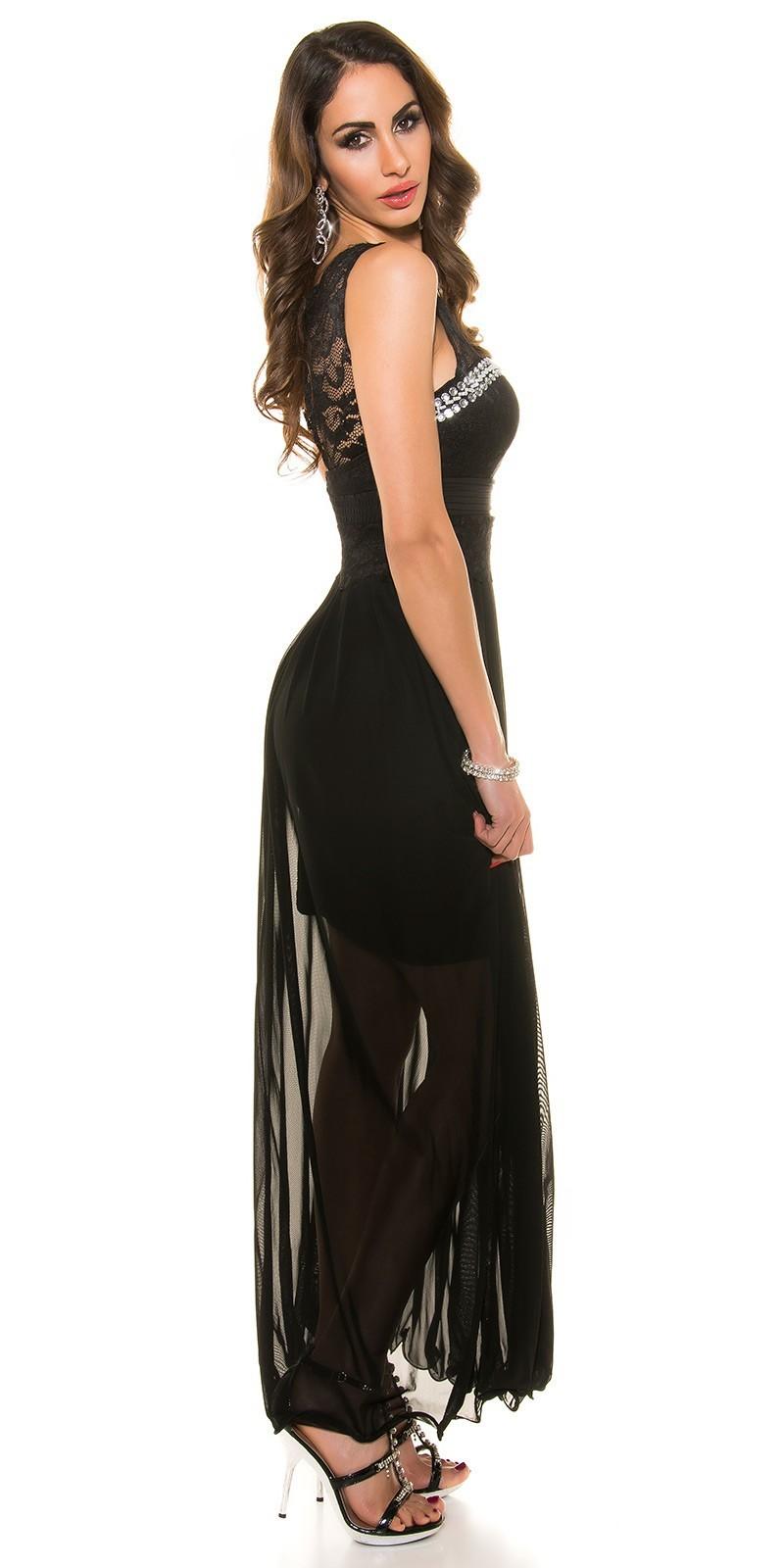 20e182fdc3d9 Dlhé spoločenské šaty s čipkou Black – Sissy Boutique