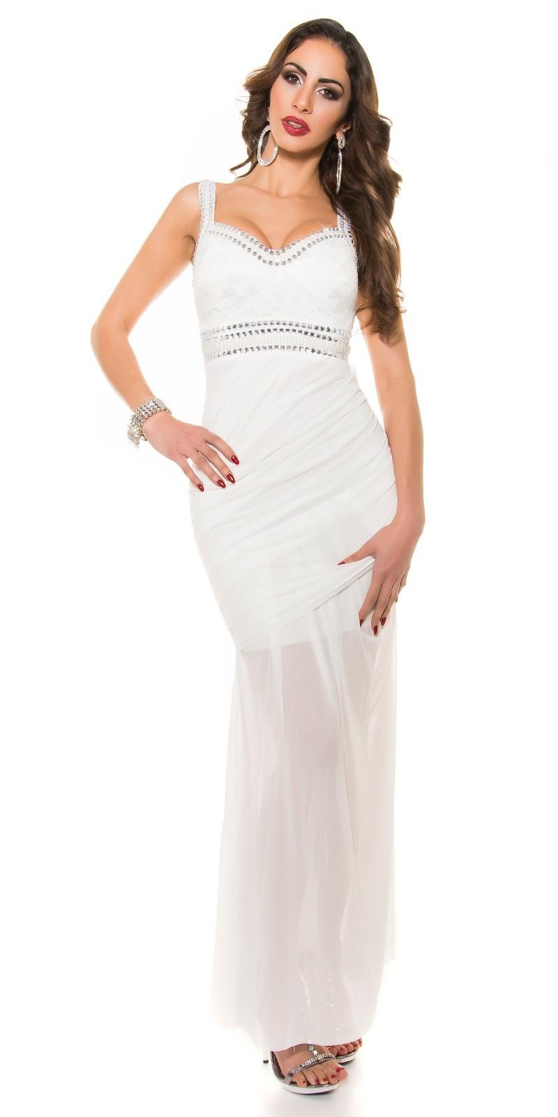 1fb54e3723d3 Dlhé šaty so zdobením White – Sissy Boutique