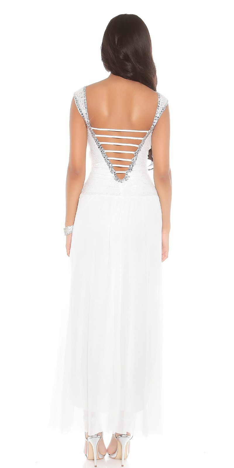 1ddfadf2b5c1 Spoločenské šaty zdobené kamienkami White – Sissy Boutique