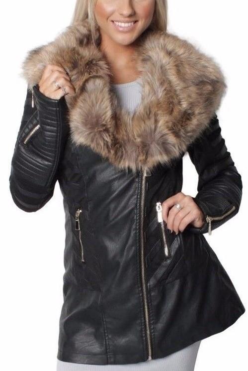 375c00279e6c Dlhá kožená bunda s hnedou kožušinou – Sissy Boutique