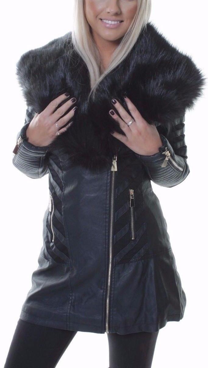19c36d23b9a6 Dlhá kožená bunda s čiernou kožušinou – Sissy Boutique