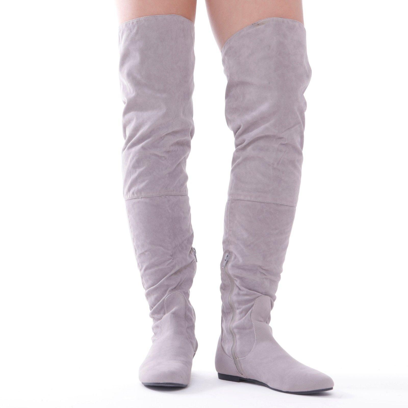 3780735c68c7 Semišové čižmy nad kolená Grey – Sissy Boutique