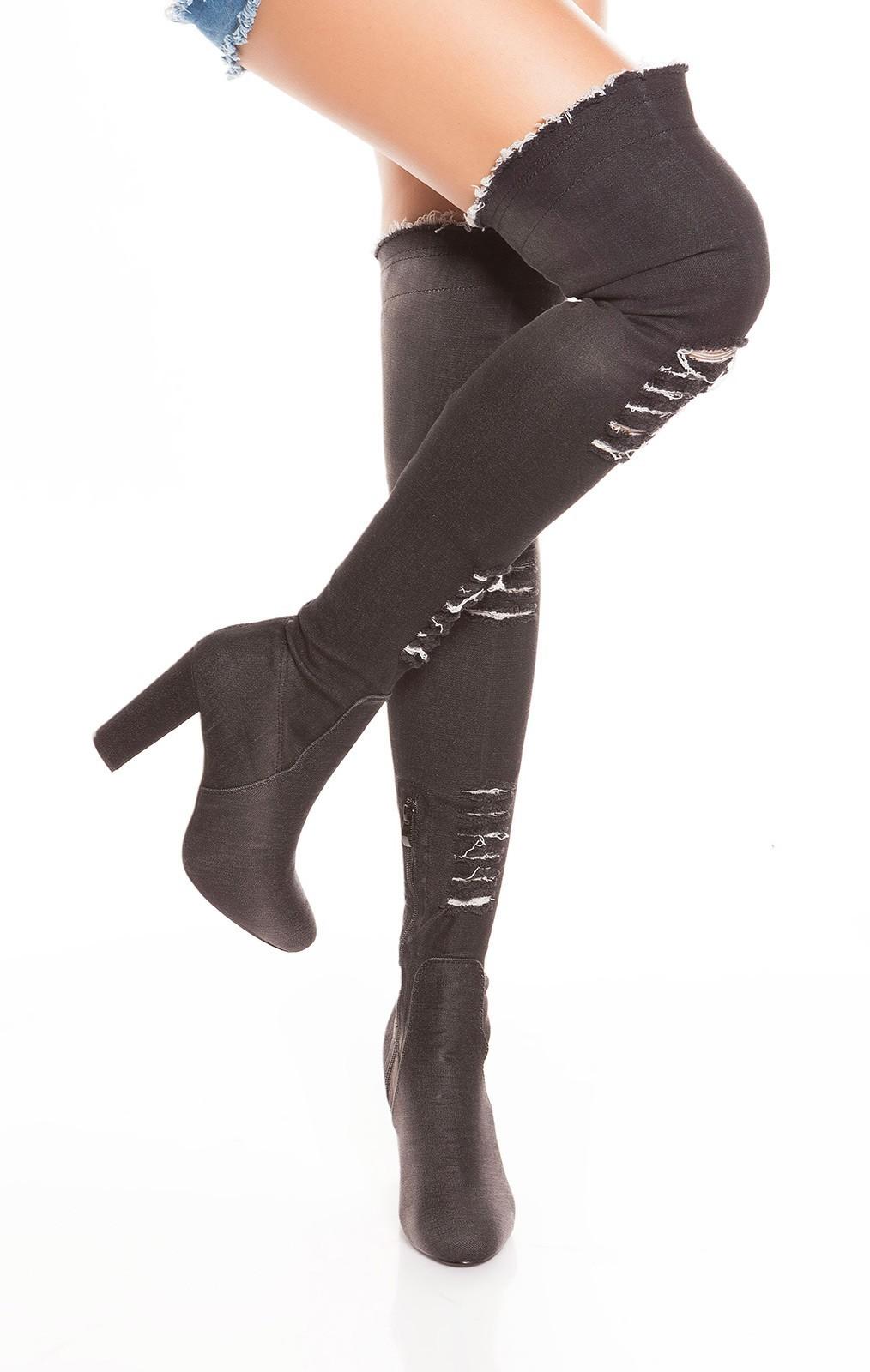 Riflové čižmy nad kolená JeansBlack – Sissy Boutique 66f8fdffecc