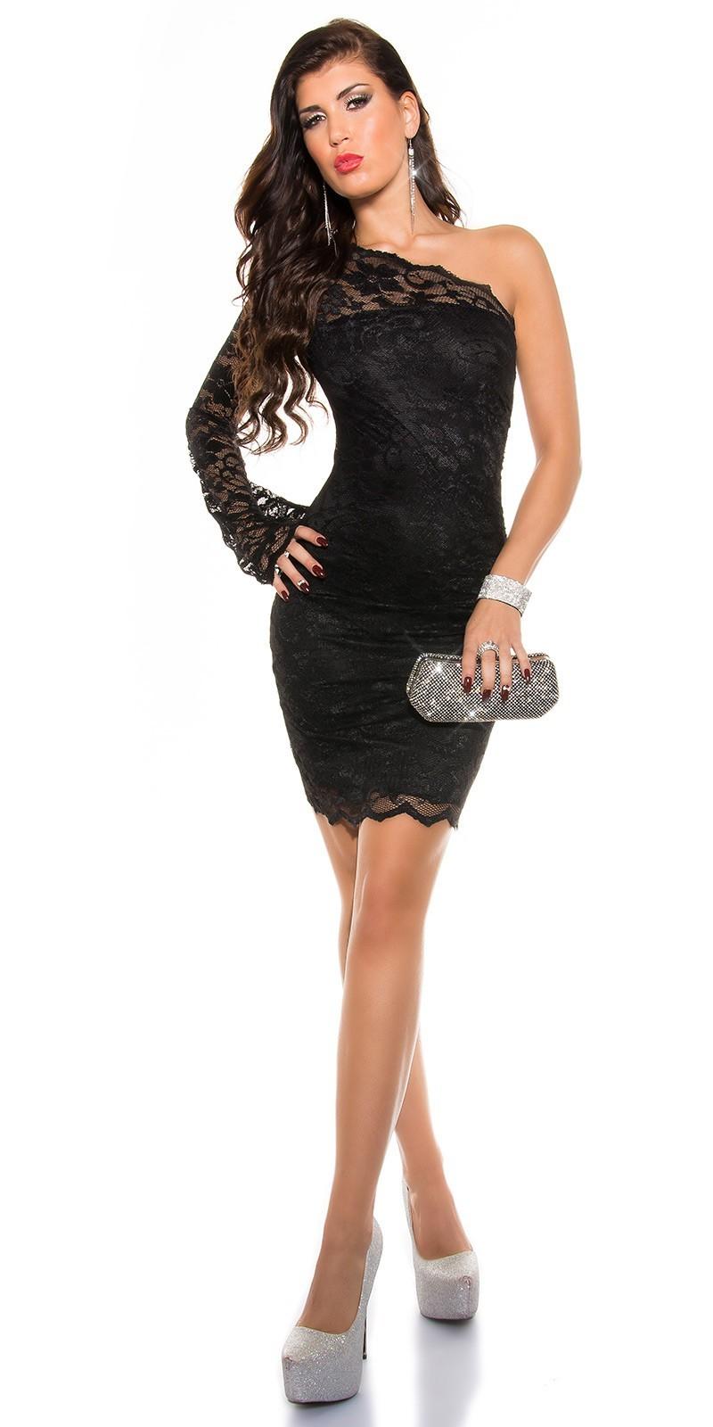 bd47e4b23de8 Čipkované šaty s 1 rukávom KouCla Dress Black – Sissy Boutique
