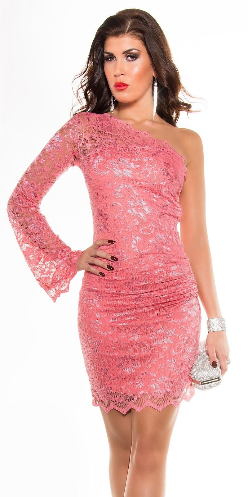 8c00b4956cb2 Čipkované šaty s 1 rukávom KouCla Dress Coral – Sissy Boutique