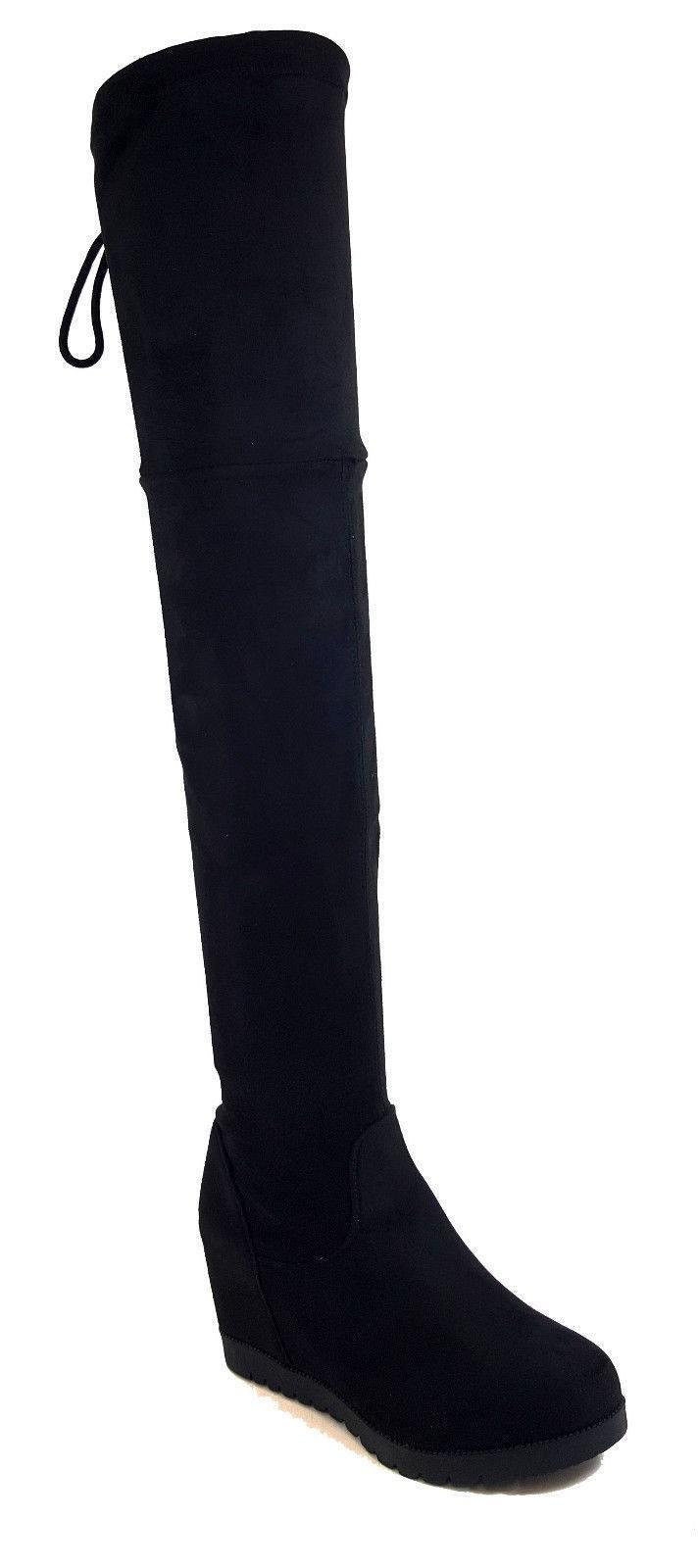 Semišové čižmy nad kolená na platforme Slim Black – Sissy Boutique 693d6f61712