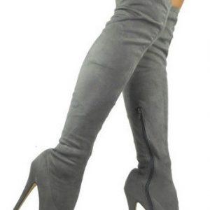 Semišové čižmy nad kolená Slim Grey 2a423af5bfd