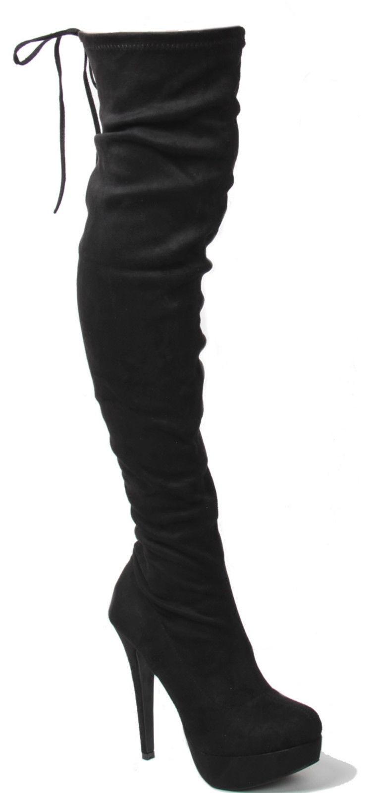 Semišové čižmy nad kolená so šnurovačkou Slim Black – Sissy Boutique b06d9886198