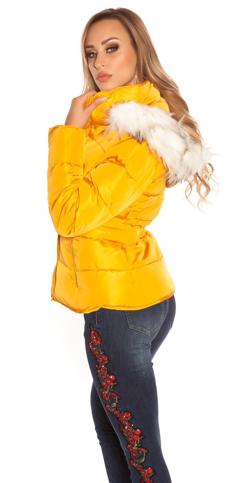 Zimná bunda s kožušinou Mustard – Sissy Boutique 56276f9d978