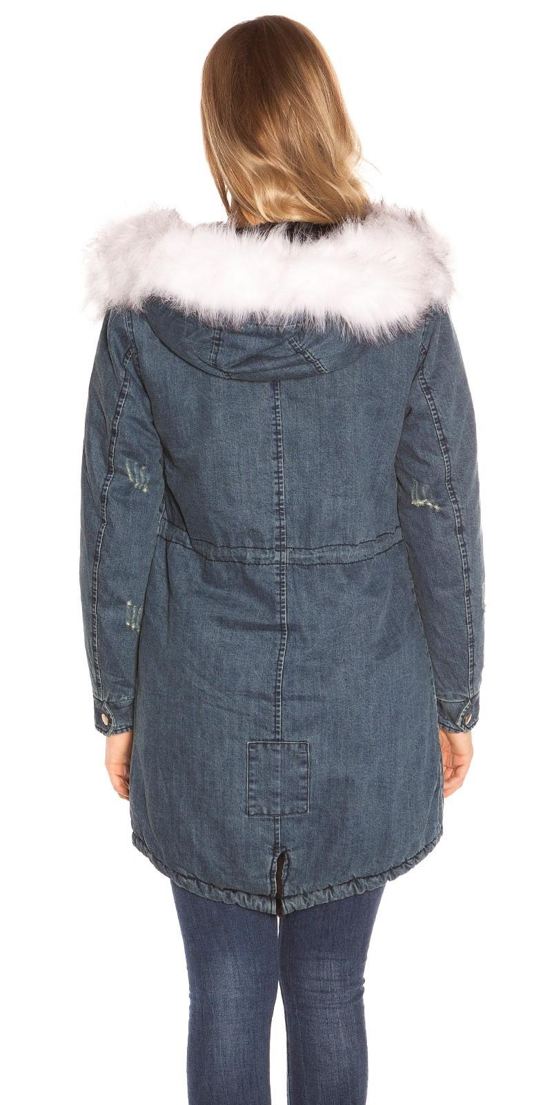 Riflová zimná bunda s kožušinou White – Sissy Boutique c2bcc5bed5b