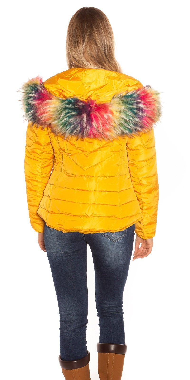 Zimná bunda s farebnou kožušinou Mustard – Sissy Boutique 4df0f3f68ea