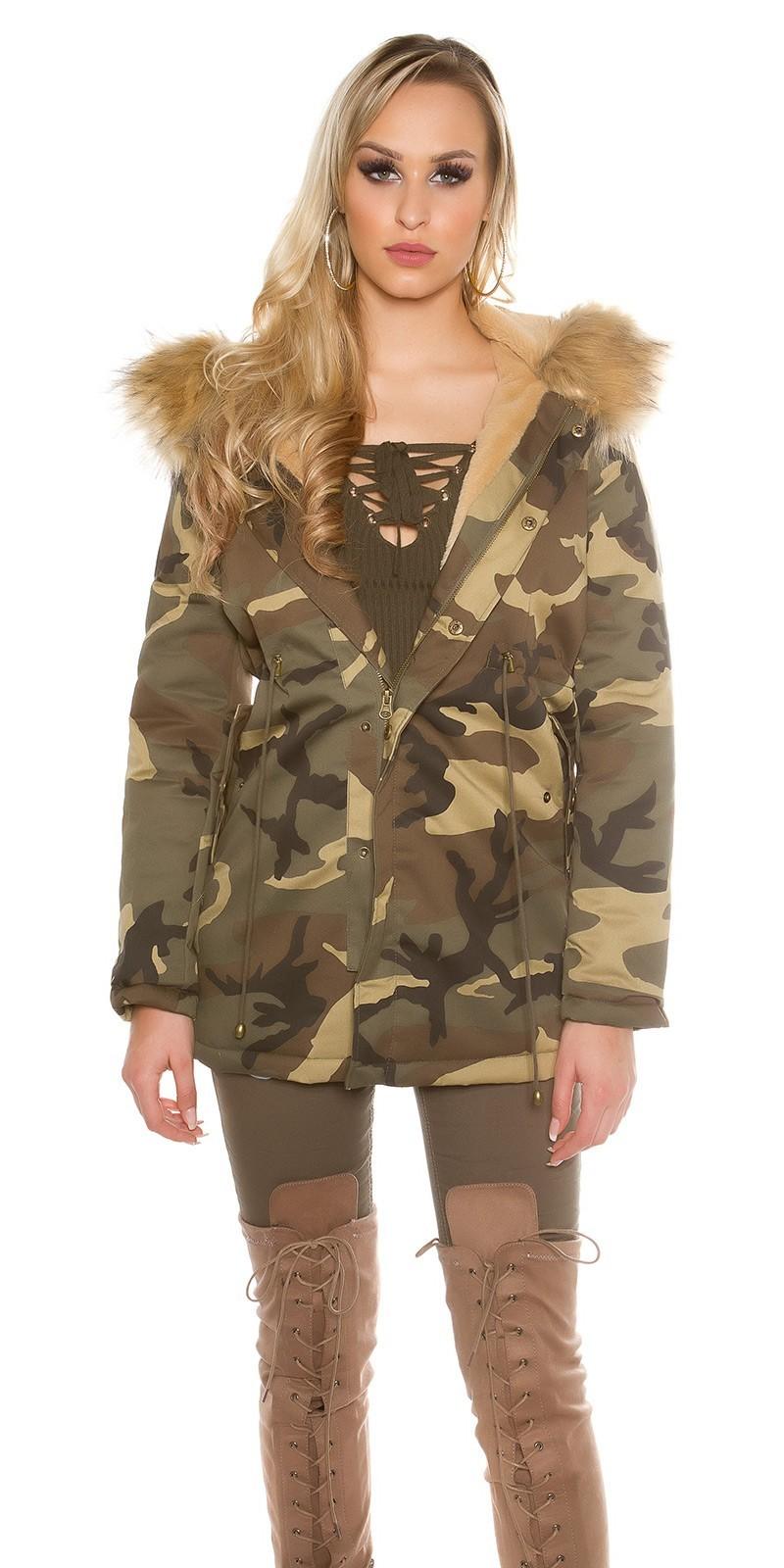 70d3dbc740bc Dámska maskáčová bunda s kožušinou Beige – Sissy Boutique