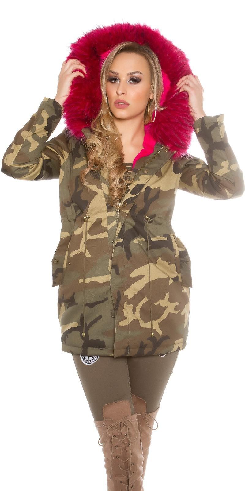 f1ae9d1c67cc Dámska maskáčová bunda s kožušinou Fuchsia – Sissy Boutique