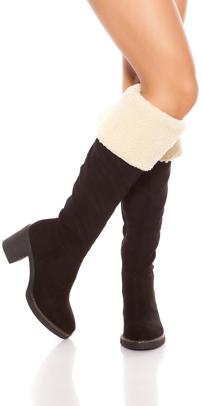 adcedf360ad9 Zimné čižmy nad kolená na hrubom podpätku Black – Sissy Boutique
