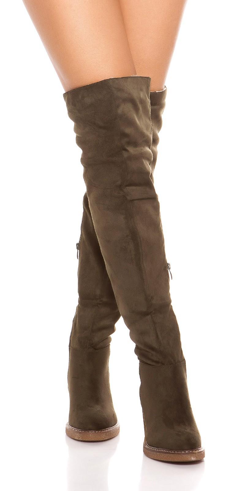 2931f9d03f159 Zimné čižmy nad kolená na hrubom podpätku Army Green – Sissy Boutique