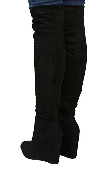 Čižmy na plnej platforme nad kolená Slim Black – Sissy Boutique 48441df135d