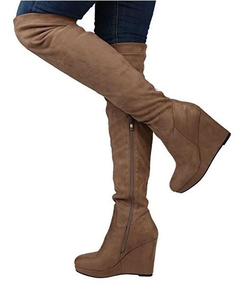 Čižmy na plnej platforme nad kolená Slim Taupe – Sissy Boutique c5c2d61ff3f