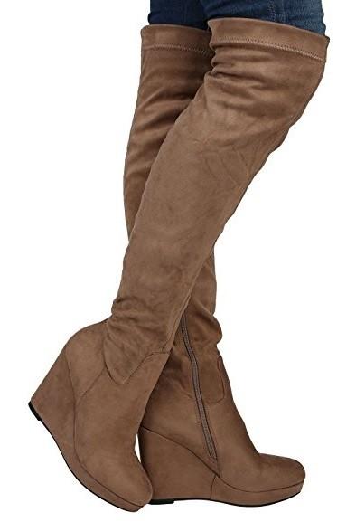061ffe5f2101 Čižmy na plnej platforme nad kolená Slim Taupe – Sissy Boutique