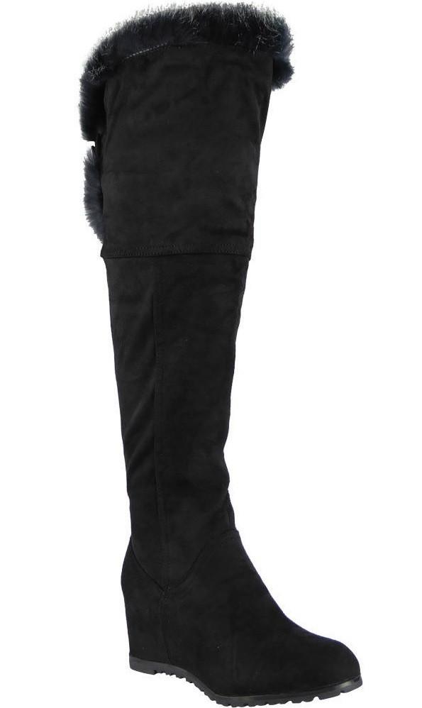c93f2a196be5 Čižmy na plnej platforme nad kolená s kožušinkou Black – Sissy Boutique