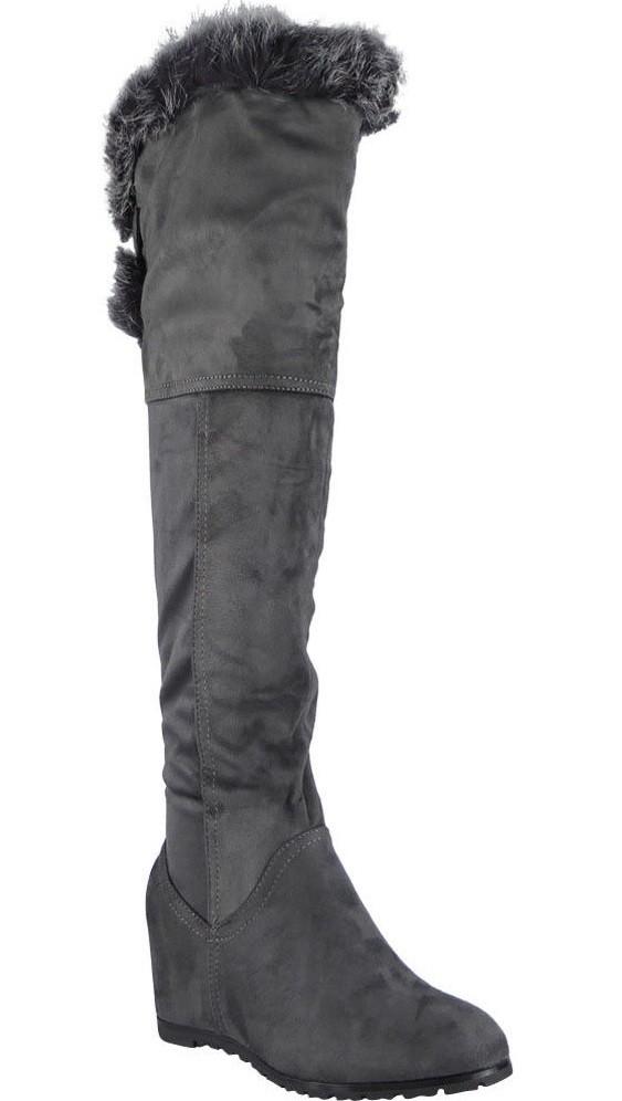 c1364a0def1e Čižmy na plnej platforme nad kolená s kožušinkou Grey – Sissy Boutique