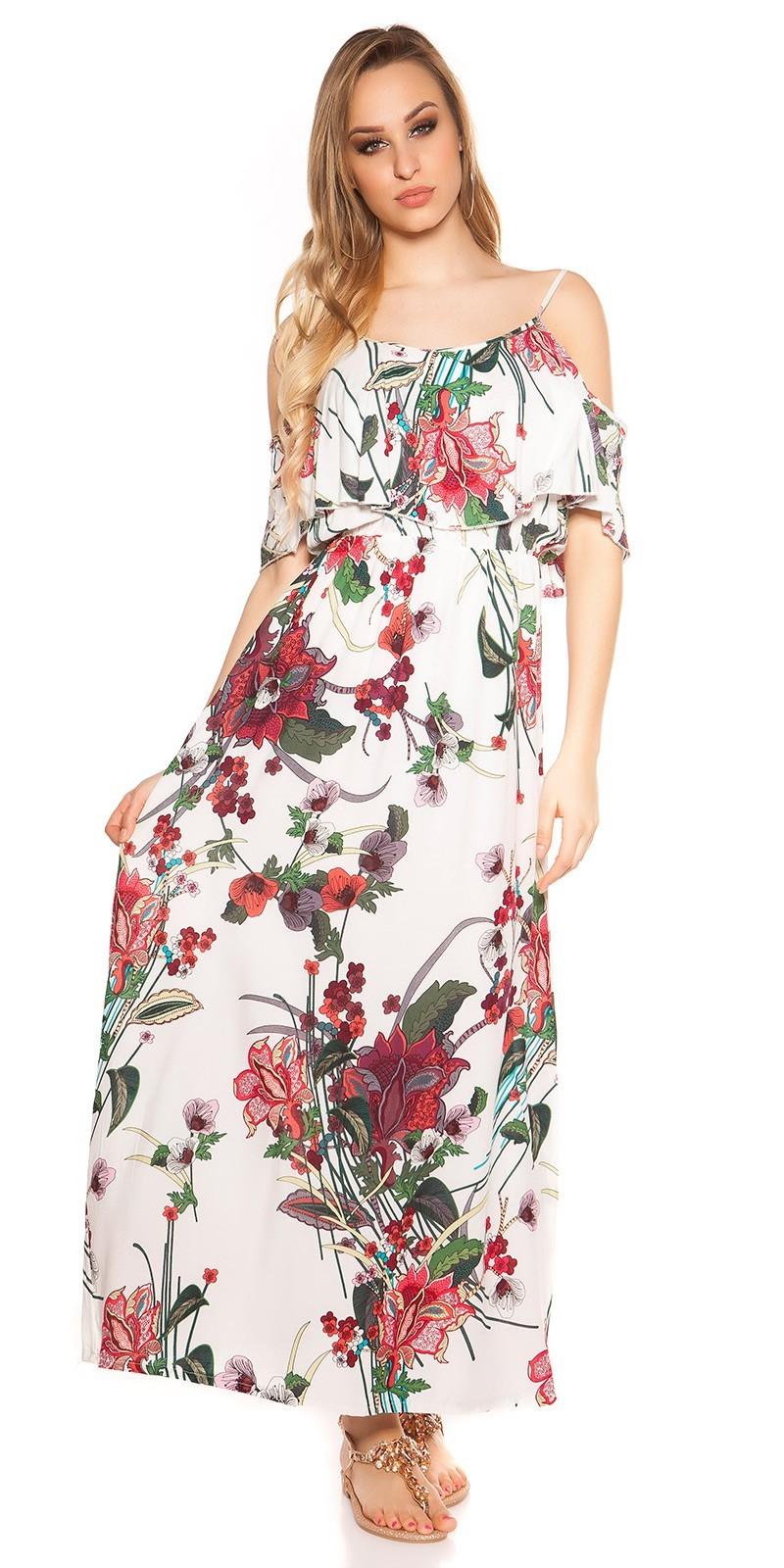 7bb43e90693f Kvetované dlhé letné šaty White – Sissy Boutique