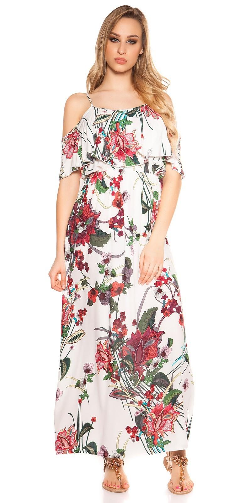 25d5dfed5349 Kvetované dlhé letné šaty White – Sissy Boutique