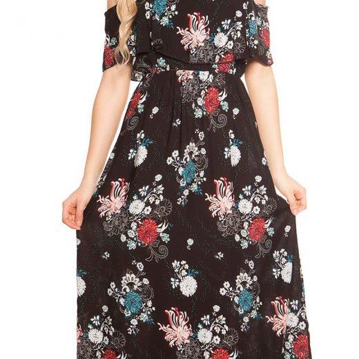 3bba6d0b5544 Dlhé letné šaty na ramienka Coachella-Style Black