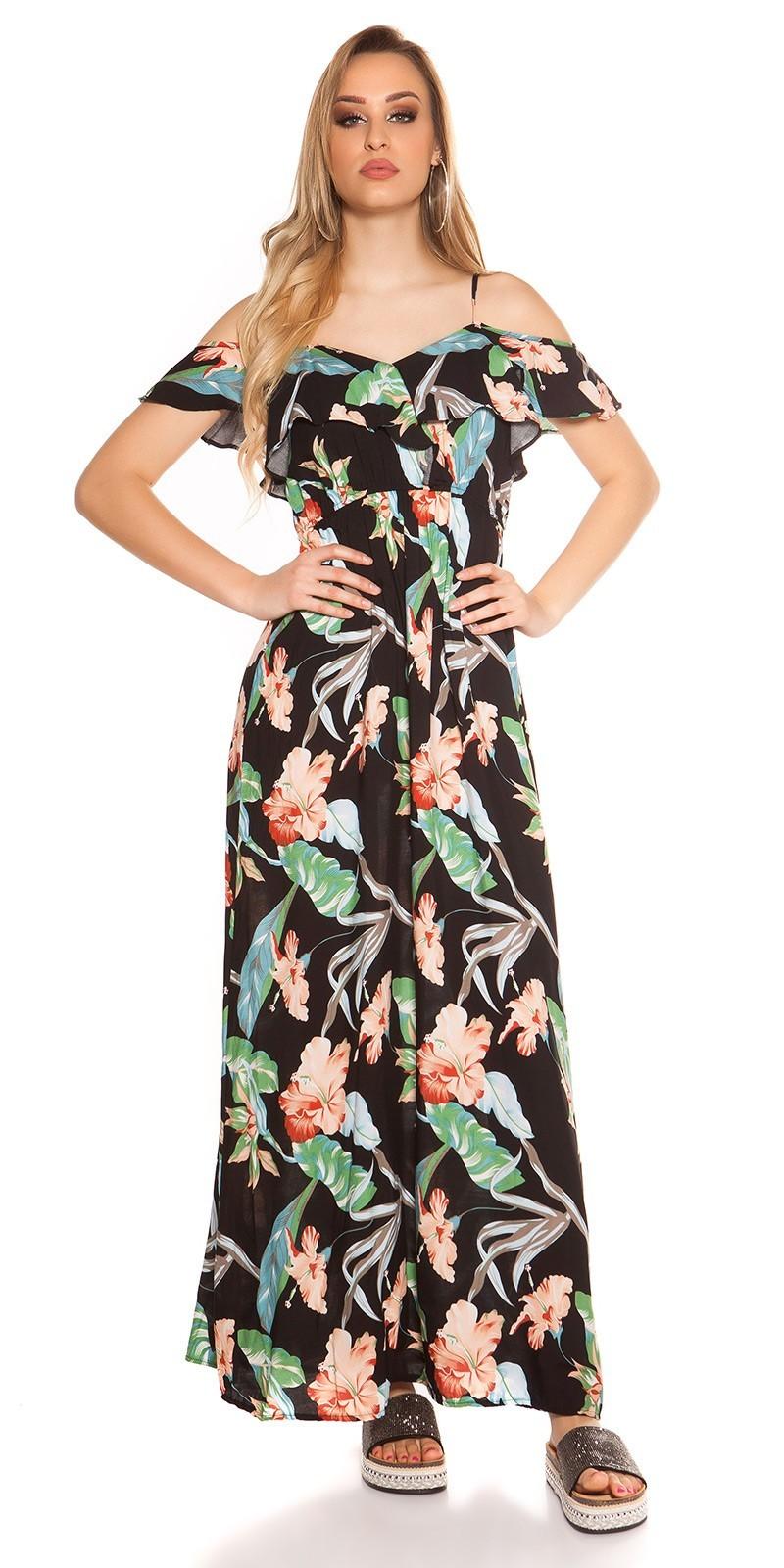 7ae7c65268c9 Kvetované dlhé letné šaty Coachella-style Black – Sissy Boutique
