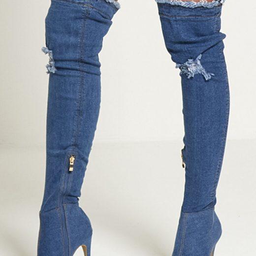 Modre riflove cizmy nad kolena