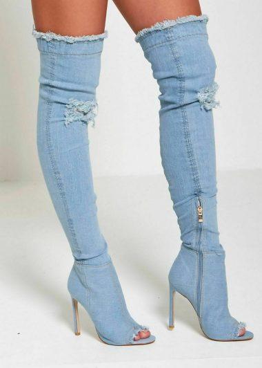 Svetlomodre riflove cizmy nad kolena
