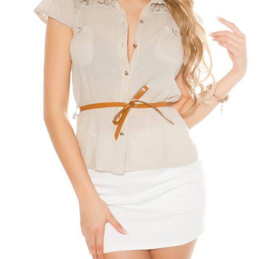 Bezova bluzka s kratkym rukavom