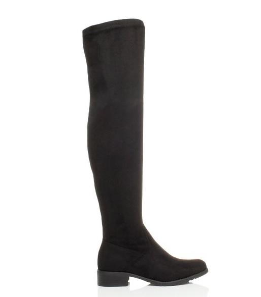 9bd1a42c2aa2 Čižmy nad kolená nízky podpätok Black Suede 37 – Sissy Boutique