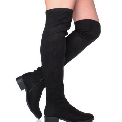 Cizmy nad kolena na nizkom podpatku