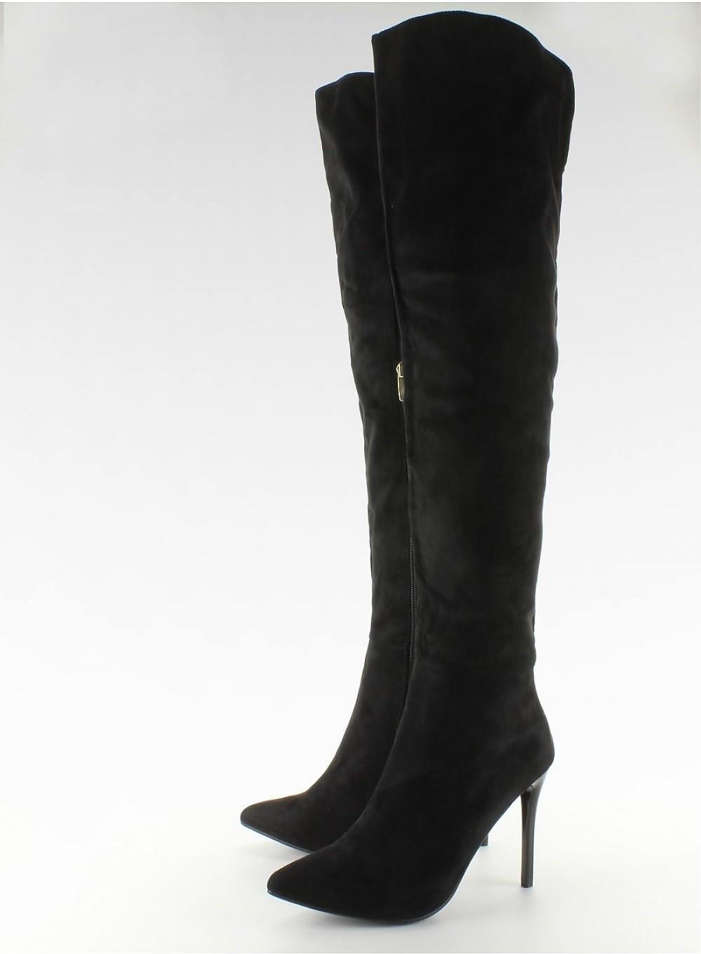 6350b20fab6b Semišové čižmy nad kolená na podpätku Black – Sissy Boutique