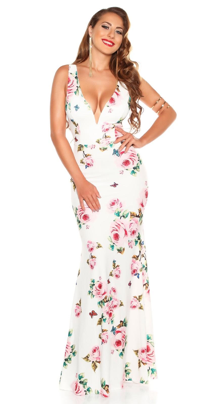 17a8f8512210 Dlhé spoločenské šaty kvetované White – Sissy Boutique