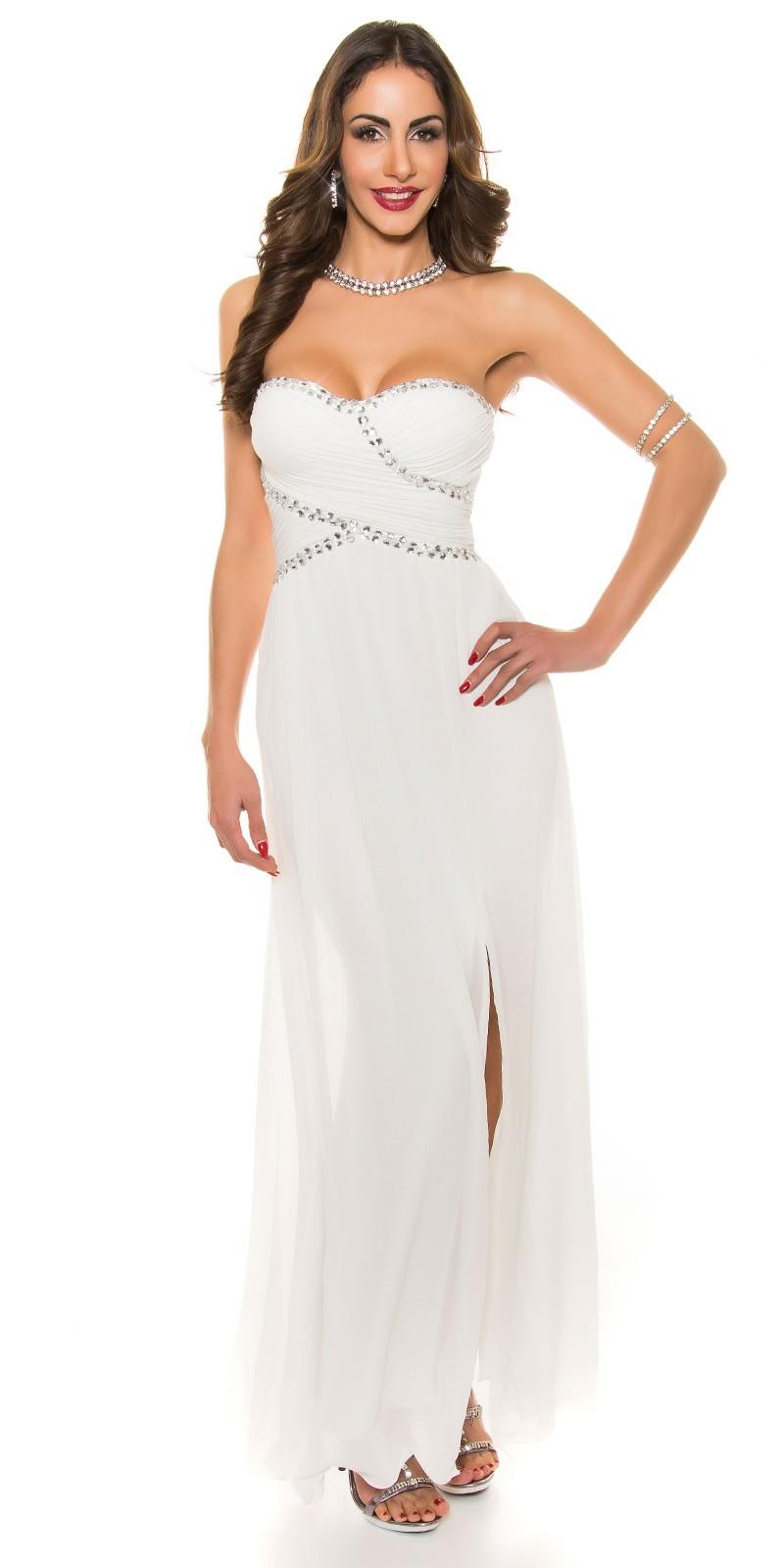 abadfb452e2e Dlhé spoločenské šaty s kamienkami White – Sissy Boutique