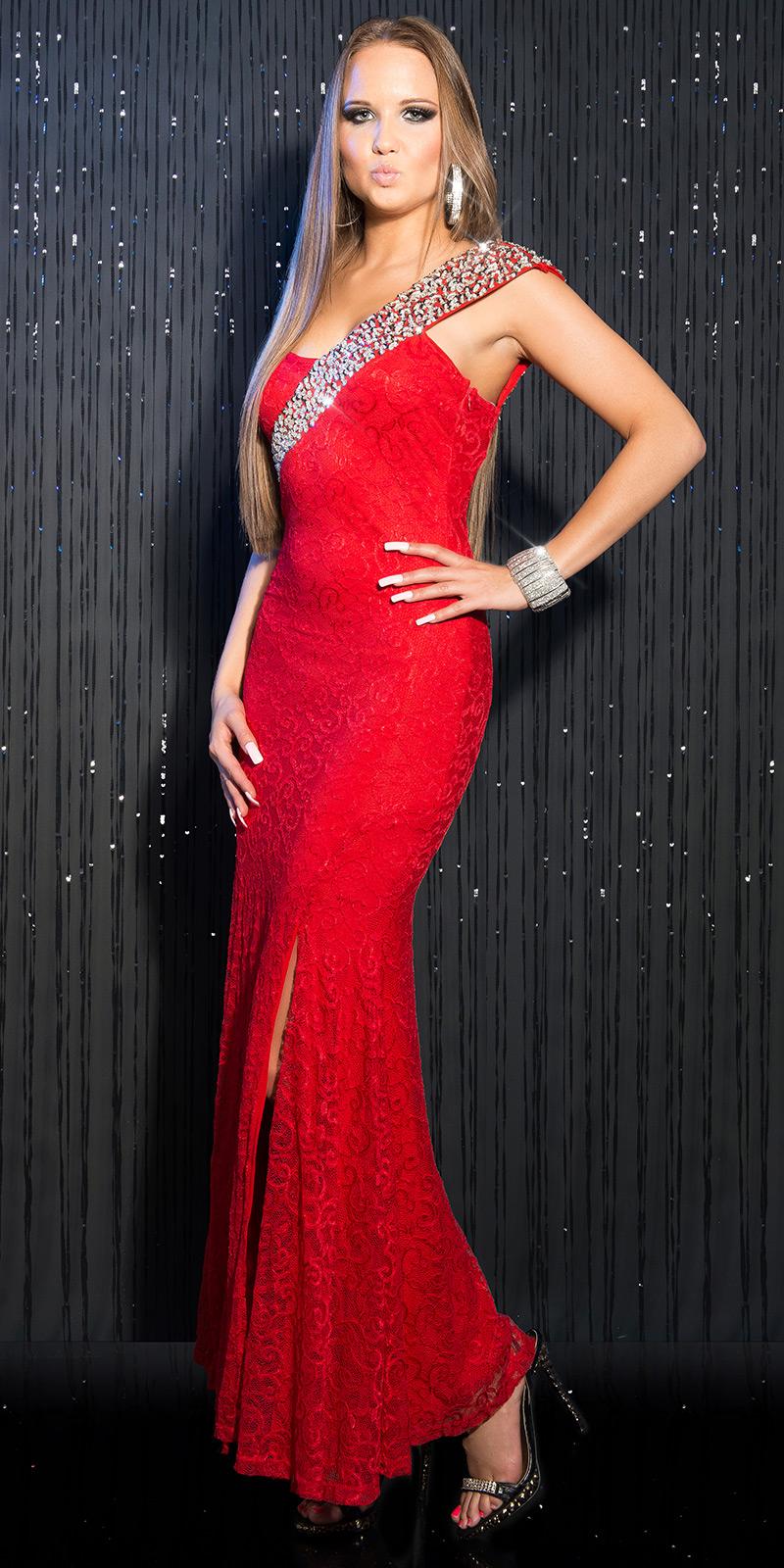 Čipkované spoločenské šaty Red – Sissy Boutique 78fbc68386