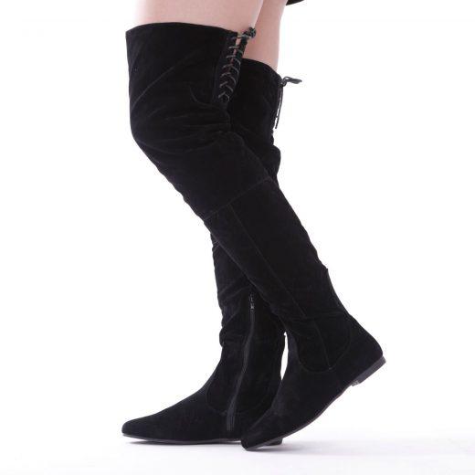 Semišové čižmy nad kolená so šnurovačkou Black 87532a308dd